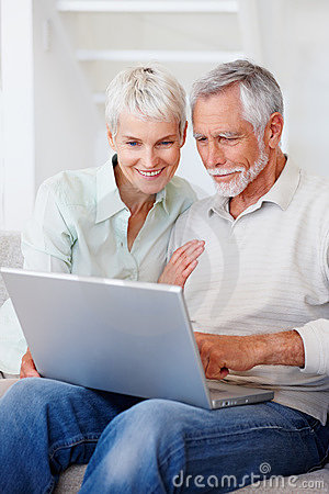 Royalty Free Stock Photo Senior Retired Couple Working On