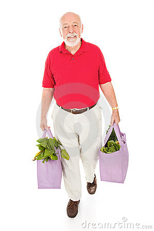 Senior with Reusable Grocery Bags