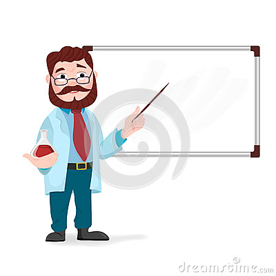 Senior science teacher, scientist professor standing in front of blackboard teaching Vector Illustration