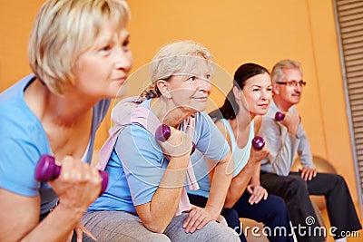 Senior sports in fitness center