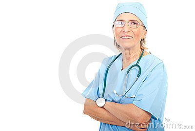 Senior surgeon woman