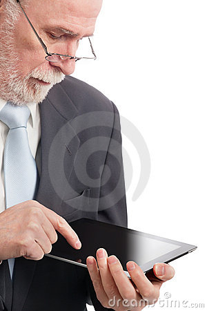 Senior with tablet pc