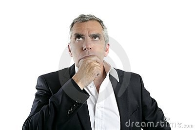 Senior thinking businessman hand in face gray hair