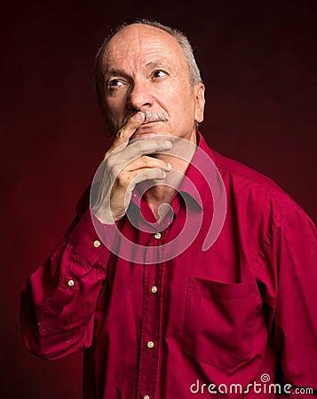 Senior thoughtful man