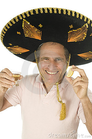 senior tourist male Mexican somebrero hat