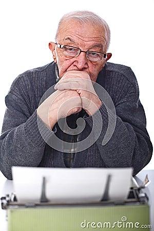 Senior and typewriter