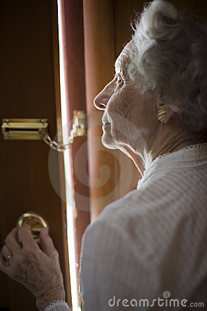 Free Senior Using A Security Chain Stock Photo - 4651040