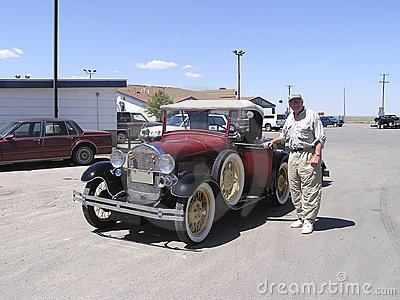 Senior and vintage 1928  car