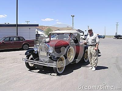 Senior and vintage 1928  car
