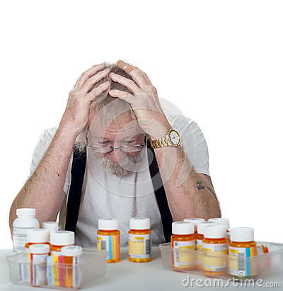 Free Senior With Too Many Prescriptions Stock Images - 30346514