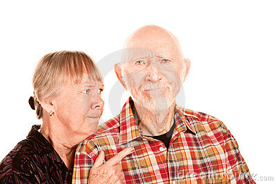 Senior woman arguing with man