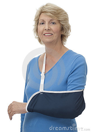 Senior woman with arm in sling