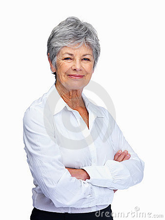 Senior woman with arms folded isolated over white