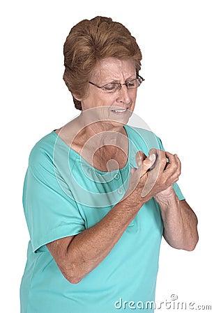 Senior Woman Arthritis Pain in Hands, Growing Old