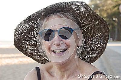 Senior woman at the beach
