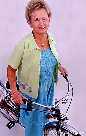 Senior woman on bike