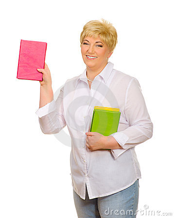 Senior woman with books