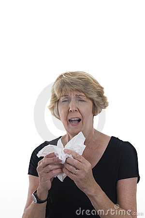 Senior woman with cold or allergies