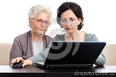 Senior woman computer training