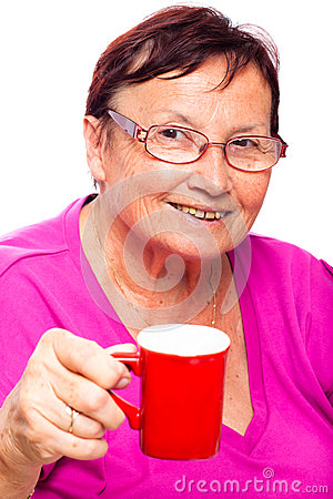 Senior woman with cup of coffee