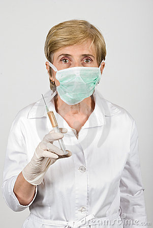 Senior woman doctor with protective mask