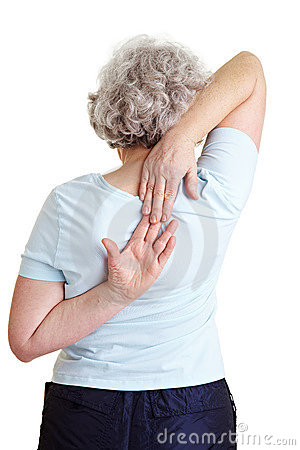 Senior woman doing back exercises