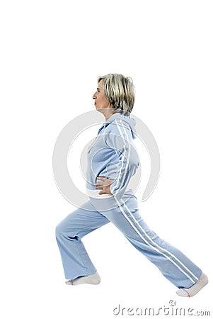 Senior woman doing gymnastic