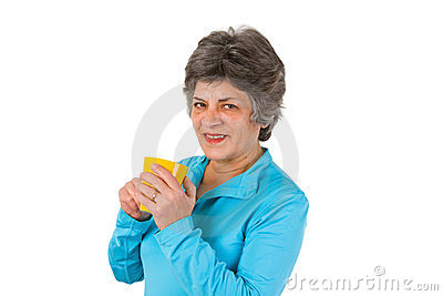 Senior woman drinking coffee or tea