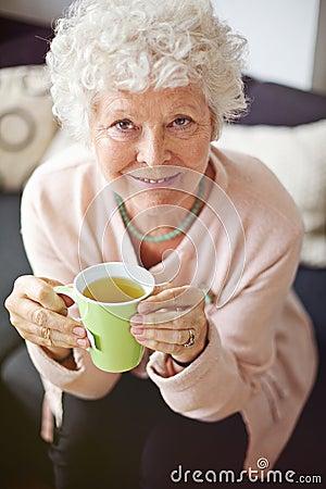 Senior Woman Enjoying Her Tea