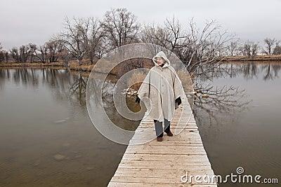 Senior woman enjoys a walki alone