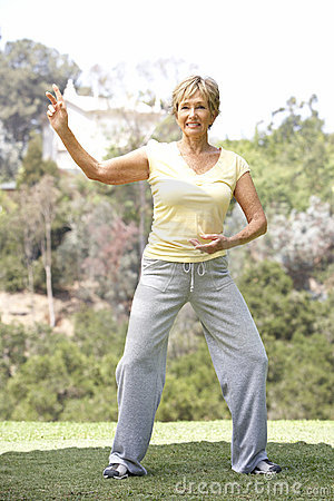 Free Senior Woman Exercising In Park Stock Photo - 12406340