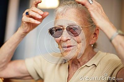 Senior woman expession