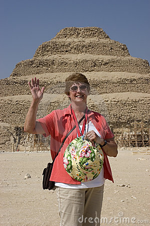 Senior Woman Exploring Step Pyramid Egypt Travel