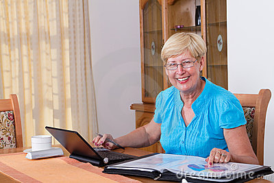 Senior woman finances