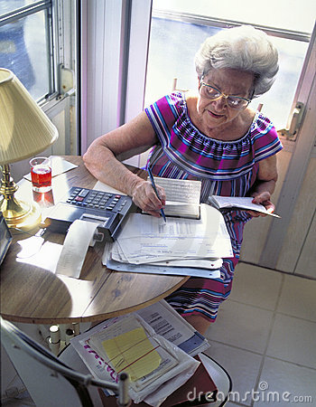 Senior woman with finances