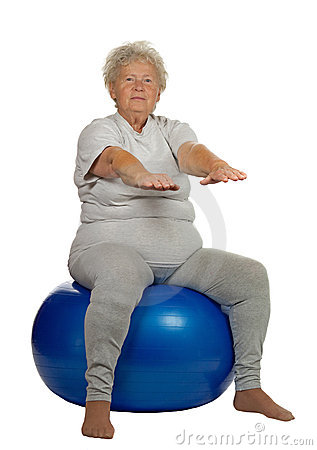 Senior woman with a fit ball