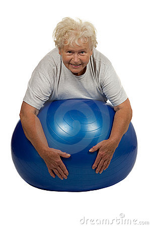 Senior woman with a fitball