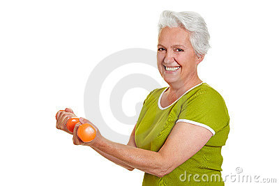 Senior woman at fitness training