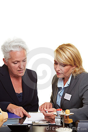 Senior woman getting financial