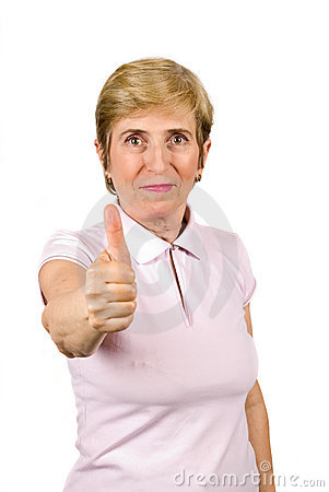 Senior woman giving thumb-up