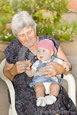 Senior woman with granddaughter