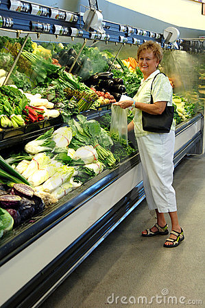 Senior woman grocery shopping