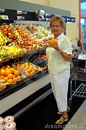 Senior woman in grocery store