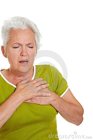 Senior woman having heart attack