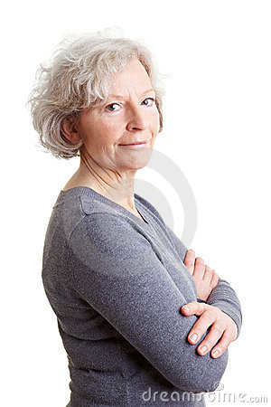 Senior woman with her arms crossed