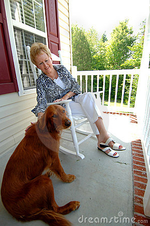 Senior woman and her dog