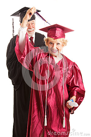 Senior Woman at Her Graduation Ceremony