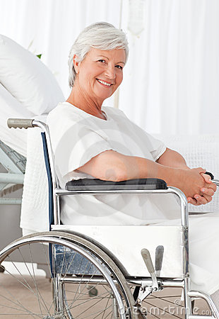 Senior woman in her wheelchair in hospital