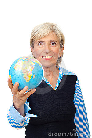 Senior  woman hold a globe