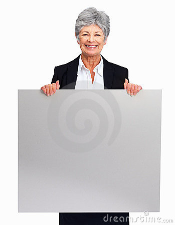 Senior woman holding a blank board over white